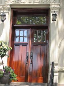 Simpson Mahogany Wood Double Entry Door